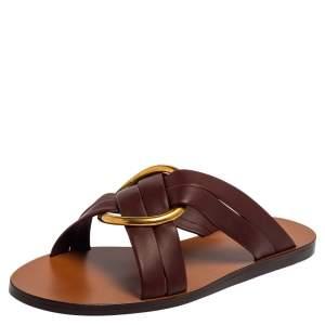 Chloé Burgundy Leather Embellished Rony Slide Sandals Size 37
