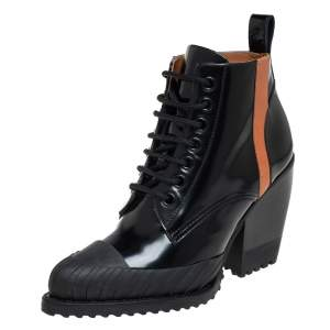 Chloé Black Leather And Rylee Rubber Cap Toe Lace Up Ankle Boots Size  40