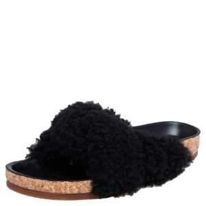 Chloé Black Shearling Kerenn Slide Flats Size 38