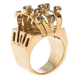 Chloe Crystal Embellished Gold Tone Cocktail Ring Size 56
