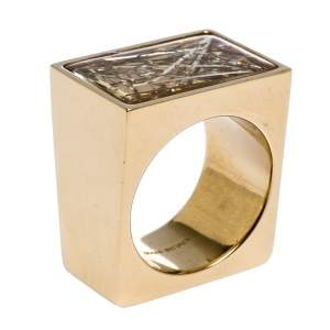 Chloe Bettina Gold Tone Resin Cocktail Ring Size Eu 56