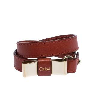 Chloe Leather Bow Motif Gold Tone Double Wrap Bracelet
