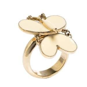 Chloe Butterfly Motif Enamel Gold Tone Ring Size 52.5