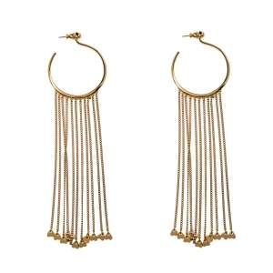 Chloe Gold Tone Meg Fringed Drop Hoop Earrings