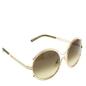 Chloe Gold/Green Gradient CE122/s Round Oversized Sunglasses