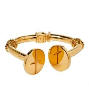 Chloé Gold Tone Hinged Cuff Frankie Screw Bracelet M/L