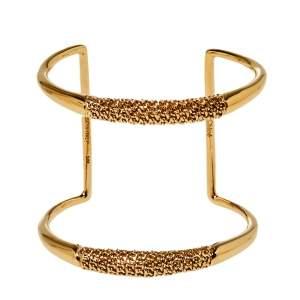 Chloé Gold Tone Chain Link Detail Open Cuff Bracelet S/M