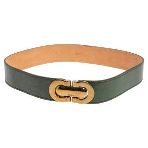 Chloé Green Leather Buckle Waist Belt 85CM