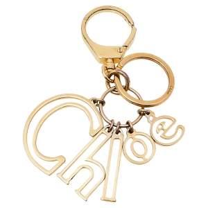 Chloe Gold Tone Logo Bag Charm/ Key Ring