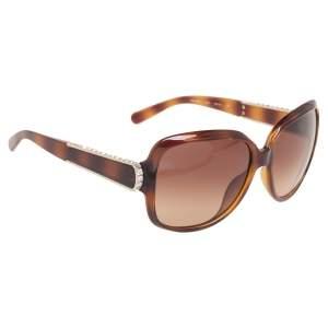 Chloe Brown Tortoise CE612SR Acetate Embellished Gradient Oversized Sunglasses