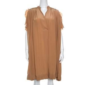 Chloe American Tan Crepe Silk Ruffled Sleeveless Billowy Dress M