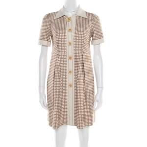 Chloe Beige and Maroon Textured Raw Silk Knit Dress S