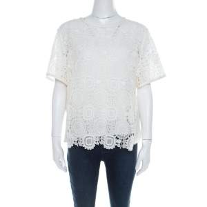 Chloe Cream Cotton and Linen Blend Lace Front Detail Top L