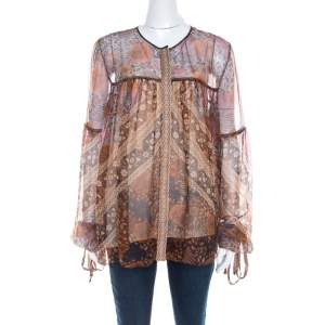 Chloe Rust Orange Printed Silk Chiffon Gathered Sleeve Detail Blouse L