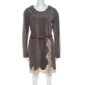 Chloe Grey Suede & Lace Belted Short Dress S
