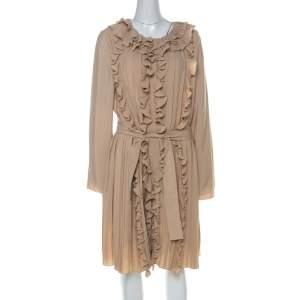 فستان كلوي طويل طية أكمام كاملة مكشكش أام حزام مزيج حرير بيج L