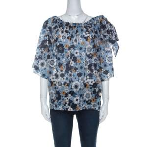 Chloe Blue Floral Print Cotton Gauze Bow Embellished Top S