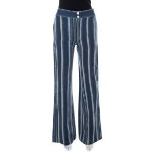 Chloé Indigo Blue Striped Canvas Pants S