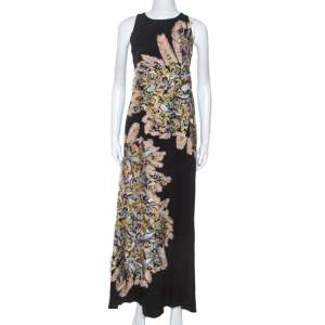 Chloe Black Crepe Embroidered Feather Detail Maxi Dress S