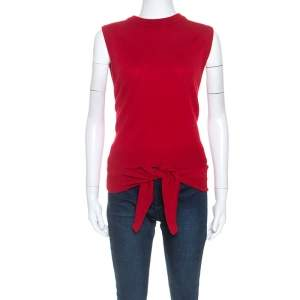 Chloe Red Cashmere Knit Wrap Around Front Tie Detail Top XS