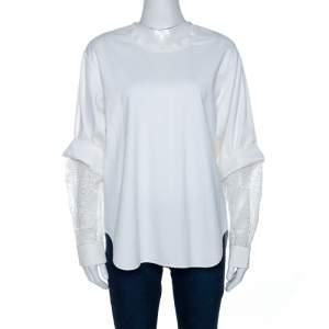 Chloe White Lace Insert Cotton Knit Oversized Top S