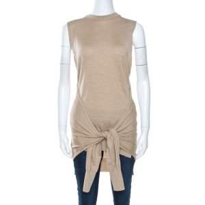 Chloe Seed Brown Wool Tie Up Detail Sleeveless Top S