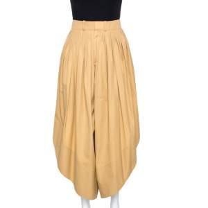 Chloé Tan Brown Cotton Poplin Draped Culottes M