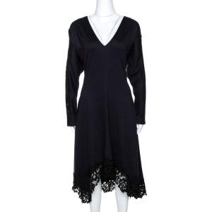 Chloé Navy Blue Stretch Wool Lace Trim Flared Midi Dress M