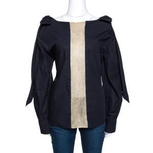 Chloe Anthracite Blue Cotton Cut Out Bow Detail Top S
