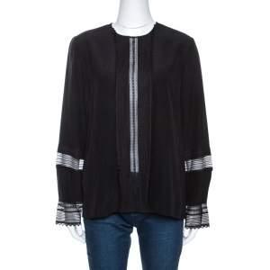 Chloe Black Silk Lace Paneled Long Sleeve Blouse L