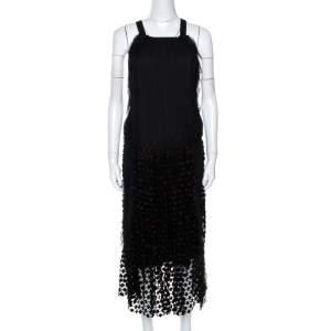 Chloe Black Crepe Lace Skirt Trim Fringed Sleeveless Dress M