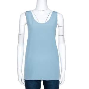 Chloe Sea Spray Blue Silk Tank Top L