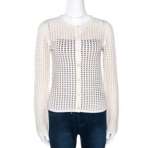 Chloe Naturel Perforated Merino Wool Knit Button Front Cardigan L