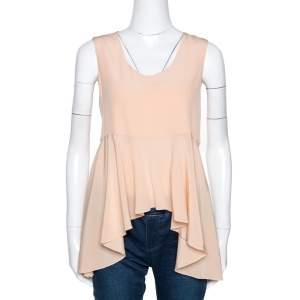 Chloe Peach Silk Crepe Sleeveless Dip Hem Top S