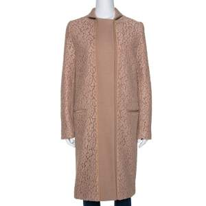Chloe Pink 19 Wool & Lace Overlay Button Front Coat S