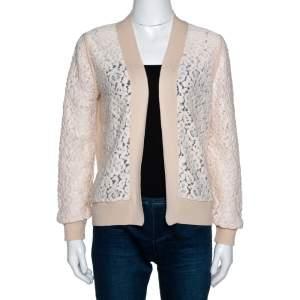Chloé Peach Cashmere Wool Guipure Lace Detail Open Cardigan M