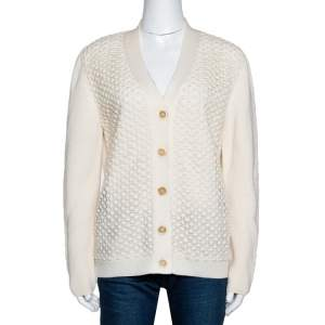 Chloé Natural Cream Wool Lace Overlay Button Front Cardigan L