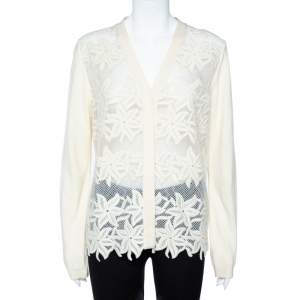 Chloe Cream Color Knit Embroidered Long Sleeve Button Front Cardigan XL