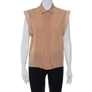 Chloe Brown Silk Lace Trim Button Front Blouse M