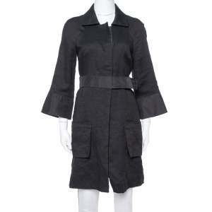 Chloe Black Linen Satin Detail Knee Length Coat M