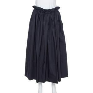 Chloe Midnight Blue Taffetta Paperbag Waist Detail Midi Skirt M