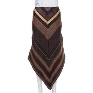 Chloe Brown Wool Asymmetric Hem Midi Skirt M