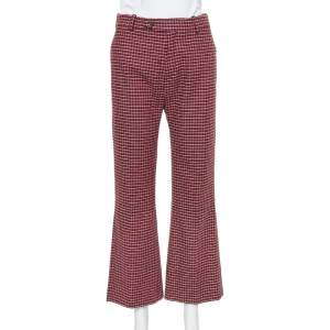 Chloe Red & Black Checked Wool Flared Trousers M