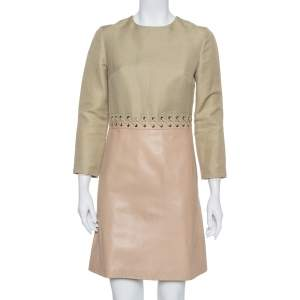 Chloe Beige Linen & Leather Long Sleeve Dress S