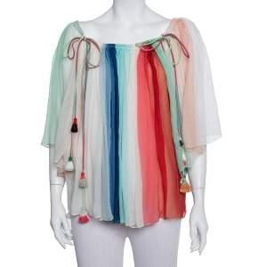 Chloe Multicolor Silk Crepe Tie Detail Paneled Overlay Off Shoulder Top S