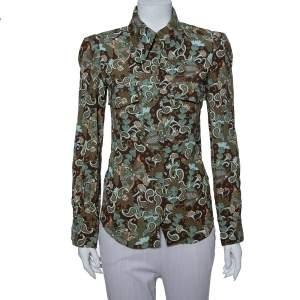 قميص كلوي رترو أزرار أمامية مطبوع كريب بني وأخضر مقاس صغير