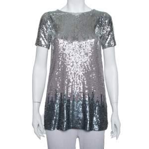 Chloe Silver Sequin Embellished Mesh Short Sleeve Top L