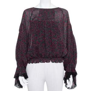 Chloe Black Printed Cotton & Silk Pintuck Detail Long Sleeve Top M
