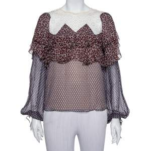 Chloe Multicolor Printed Silk & Lace Top M