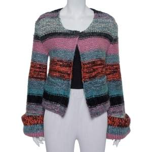 Chloe Multicolor Wool & Mohair Bell Sleeve Open Front Cardigan XS